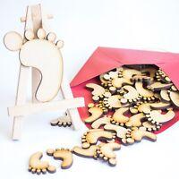 20mm x 50 Wooden Baby Feet MDF Laser Cut Craft Blank Embellishments Card Making