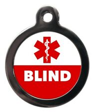 Blind Pet Tag Medical Pet ID Tag Warning Dog Cat Name Disc - Personalised FREE