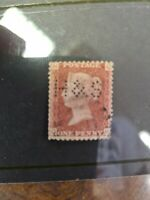 1d red perfin H and S plate 181 A52