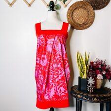 Diane von Furstenberg Pink Red Floral Payne Abstract Bubble Dress, Pockets Sz 2