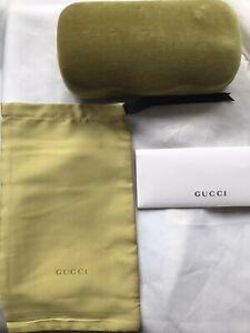 New Large Lime Gucci Case Hard Shell Sunglasses & Eyeglasses Lime Velvet Case