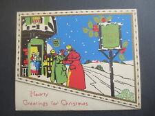 Vintage CHRISTMAS Card Art Deco The Hope Inn Regency Musicians Snowy Scene