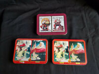 Lot of 6 Vintage Sealed Santa Playing Card Decks in Tins Sat Evening Post Coke