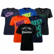 New Women's Active T shirt Nike Athletic Cut Graphic T-Shirts Swoosh Logo Top