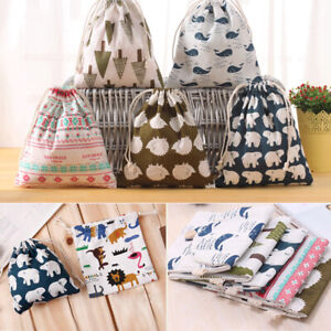 1pc Drawstring Storage Bag Cotton Linen Fabric Candy Toy Pouch Travel Gift Bag!