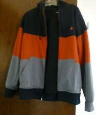 Volcom striped black gray orange hooded zip sweatshirt L jacket