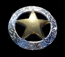 """Western Equestrian Tack Bright Silver/Gold Star Concho.s 1 1/8"""" Set of 6"""