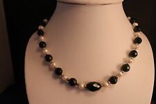 "Beautiful Necklace With Freshwater Pearls And Sunstone Gemstone 18"" Inches Long"