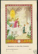 VINTAGE Catholic 1st Holy Communion Certificate Picture - never used mint NOS