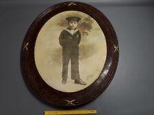 ancien Cadre ovale en bois photo enfant matelot marin