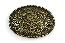 Bronze Color Girly Flowers Western Cowgirl Belt Buckle