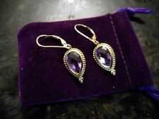 14KT YELLOW GOLD ESTATE/VINTAGE AMETHYST EARRINGS LEVER BACK STYLE