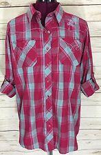 Bit & Bridle Pink Blue Plaid Button Down Western Shirt W/ Floral Embroidery Sz L