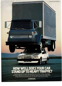 1988 VOLVO white 740 GLE with 6 ton truck on roof Vintage Print Ad
