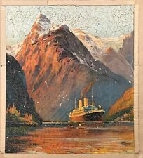"Vintage Wooden Delta Large Jigsaw ""Maritime View"" By Famous Artist"