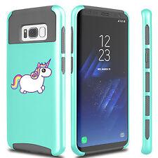 For Samsung S6 S7 Edge S8 + Dual Shockproof Hard Soft Case Cover Rainbow Unicorn