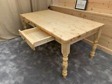 7ft (213cm) STD Farmhouse Table With 2 Drawers natural Oiled Finish