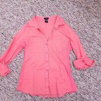 Ann Taylor Blouse Shirt Top Women's Size 4 Pink Button Down Cotton 3/4 Sleeve