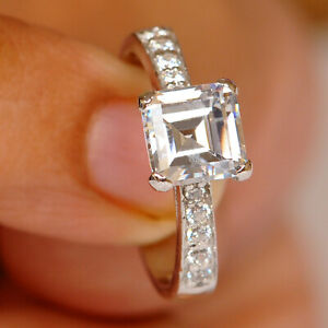 925 Sterling Silver With 1.60 Carat D/VVS1 Square Shape Solitaire Women's Ring