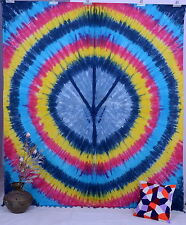Indian Tie Dye Peace Sign Tapestry Psychedelic Hippie Mandala Wall Hanging Throw