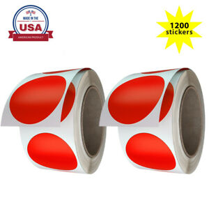 Royal Green 2 Inch Large Round Red Dot Stickers 50mm (5cm) 1200 Pack on Rolls