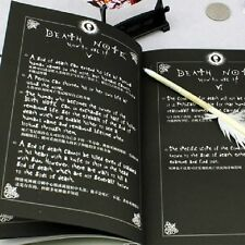 2pcs Notebook & Feather Pen Writing Journal Anime Theme Cosplay Book Death Note#