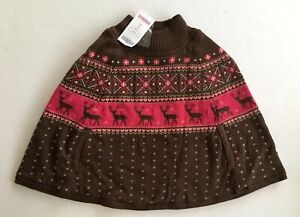 NWT Gymboree Tyrolean Lure 3-4 Reindeer Fair Isle Capelet Sweater Poncho Cape