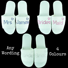 WEDDING SLIPPERS WHITE PERSONALISED HEARTS DIAMANTE RHINESTONE BRIDAL PARTY SPA