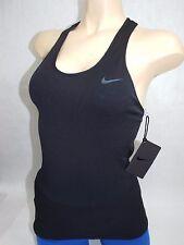 New Womens Large L-XL Nike Elite Knit Tight Long Tank Top Black $80 598184-010