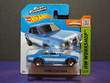 2014 HOT WHEELS WORKSHOP '70 FORD ESCORT RS1600 in BLUE, Near Mint Short Card.