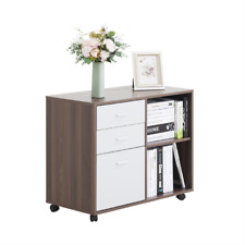 Wood File Cabinet Home Office Organizer Printer Stand With3 Drawer Shelf Storage