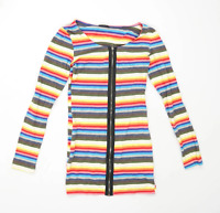 L Mode Womens Size M-L Striped Cotton Multi-Coloured Zip Up Cardigan (Regular)