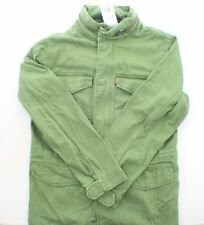 Levi's Denim Cotton Trucker Jean Jacket Zip Front Stow Hood Army Green