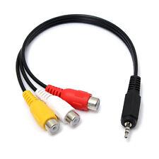 2.5mm Klinke Stecker auf 3 Cinch RCA Buchse Audio Video AV Verlängerungskabel