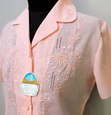 *Vintage Size S 1980s Lily Pink Embroidered Polyester/Viscose Blouse- 46cm Bust