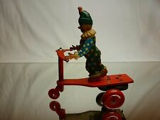 VINTAGE TIN TOY WINDUP FOREIGN - CIRCUS CLOWN ON TRIKE SCOOTER  - RED  - GOOD