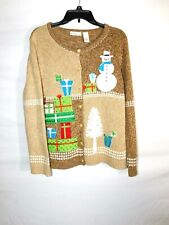 Cute Ugly Kim Rogers XL Christmas Cardigan Sweater Snowman Gifts Tree