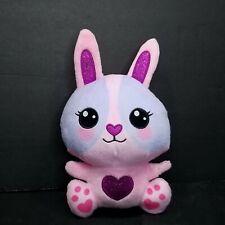 "Easter Bunny Rabbit Plush Pink Blue Stuffed Animal Purple Glitter Hearts Soft 9"""
