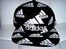 Embroidered Adidas 3 Stripes Snapback Flat Cap Black White: One Size Fits Most