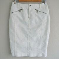 Ralph Lauren Womens Size 4 White Pencil Skirt Silver Buttons Zip Pockets