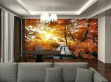 Bridge and Autumn  Wall Mural Photo Wallpaper GIANT WALL DECOR Paper Poster