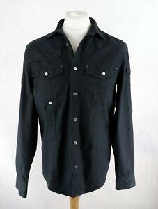 Mens ARMANI EXCHANGE Utility Long Sleeve Button-down Shirt Size M Black Casual