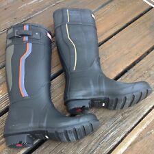 Hunter Black Stripe Wellies Tall Rain Boot Galoshes US 7 UK 6 EU 38 Shoes RARE