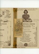 1944 Knotts Berry Place Chicken Dinner Restaurant Menu & Ration Table Tent Card