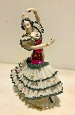 "Antique FRANKENTHAL German Dresden Porcelain Lace Figurine Spanish Dancer 9""Tall"