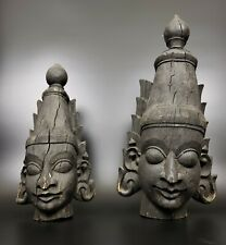 HUGE! PAIR OF ANTIQUE HAND CARVED HINDU GOD HEADS FROM INDIA