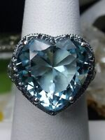 Heart *Aquamarine* Sterling Silver Deco Filigree Ring Size Any {Made To Order}
