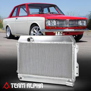Fits 1968-1973 Datsun 510/1600/2000/521 [DUAL ROW CORE] Aluminum Racing Radiator