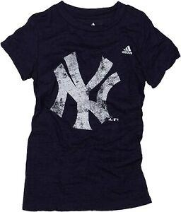 Adidas New York Yankees MLB Youth Short Sleeve Burnout Tee, Navy, Small 7-8