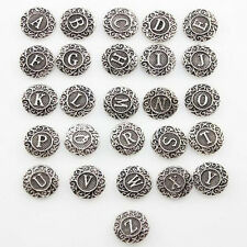 26pcs Alphabet Metal A-Z Letter Snap Button jewelry Fits Snap Button Bracelet